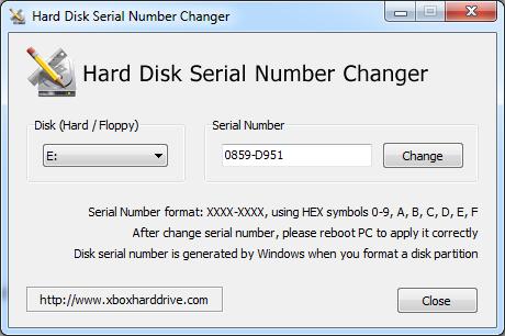 """Screenshot des """"Hard Disk Serial Number Changer"""""""
